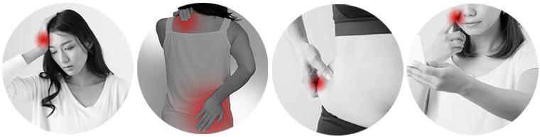 骨盤の歪みによる症状(頭痛、肩こり、腰痛、肥満、肌荒れ)